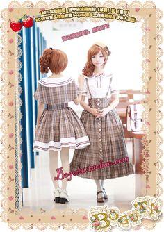 BOGUTA-lolita dress uniforms Department of College Wind England grid girl dress two-piece - Taobao