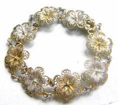 Vintage Silver Filigree Flower Bracelet via Etsy