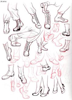 I'm always leaving out the feet because I really suck at drawing feet and shoes… So here some studies.: