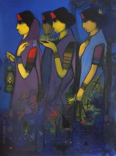 Check out in Painting in Acrylic on Canvas by Sachin Sagare of price Rs.125000 (40 X 55 Inches)  Women going to the temple in the evening, with flowers to offer to the deity.  http://www.indianartcollectors.com/sachin-sagare/sandhya-141950