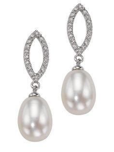 elements SilverMarquise Cubic Zirconia Pearl Drop Earrings