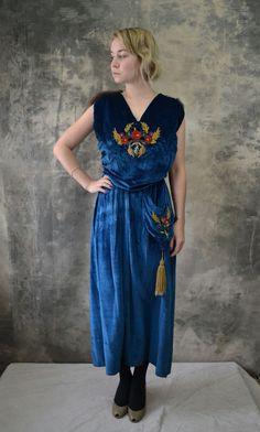 Edwardian Blue Velvet Silk Dress Fur Collar by Petrune on Etsy