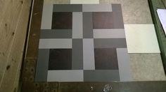 100mm tile with alternating 50mm x 150mm strips design.#marmoleum #debruyn #design