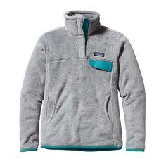 size Large - Patagonia Women\'s Re-Tool Snap-T\u00AE Fleece Pullover - Tailored Grey - Nickel X-Dye w/Tobago Blue TNXB