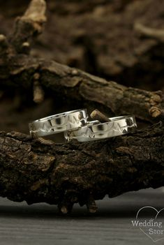 Heartbeat engagement rings by WeddingRingsStore. Heartbeat silver wedding bands, Matching promise rings, Silver rings, His and her ring set, Unique silver bands #jewellery #Engagement #jewelry #weddingring
