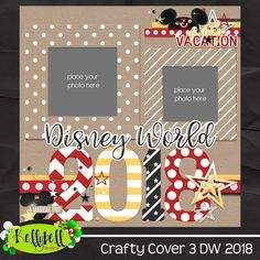 Crafty Cover 3 Disney World 2018 - Scrapbooking Ideas Scrapbook, Paper Bag Scrapbook, Vacation Scrapbook, Disney Scrapbook Pages, Scrapbook Titles, Scrapbook Page Layouts, Scrapbook Supplies, Scrapbook Cards, Scrapbook Sketches