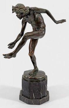 Carl Ludwig Seffner (1861 Leipzig - 1932 ebenda)Tanzender FaunBronze, dunkel patiniert. Sign.; Gieß — Skulpturen, Plastiken, Installationen, Bronzen, Relief