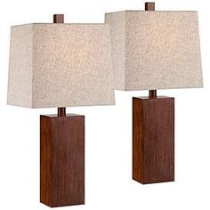 Darryl Modern Accent Table Lamps Set of 2 Brown Wood Rectangular Tan Fabric Shade for Living Room Family Bedroom Office - 360 Lighting Table Lamp Wood, Wood Lamps, Table Lamp Sets, A Table, Diy Lamps, Nightstand Lamp, Nightstands, Bedroom Night Stands, Contemporary Lamps