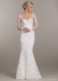 tara keely bridal spring 2015 wedding dress style 2509 trumpet lace mermaid gown illusion sleeves lace trim cuffs