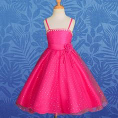 Hot Pink Formal Dress Wedding Flower Girl Bridesmaid Occasion Party 2T-3T #120B
