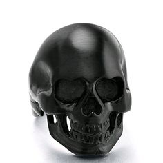 TIGRADE Jewelry 316l Men's Stainless Steel Vintage Gothic High Polish Black Skull Biker Ring(6)|Amazon.com