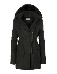 7867b8d45c98 LE3NO Womens Fleece Double Breasted Pea Coat Jacket with Detachable Hoodie