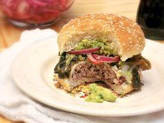 La Cocina de Leslie: Roasted Poblano Burger w/ Chile de Arbol Guacamole {She Made/Ella Hace}