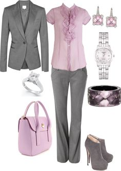 """pink and grey business attire"" by scraft on Polyvore"
