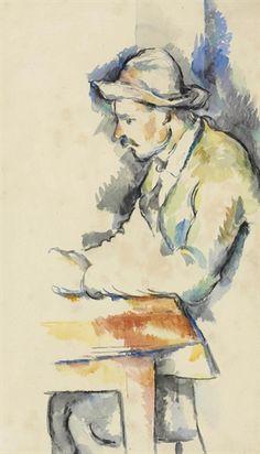 Paul Cezanne / Joueur de cartes / watercolor on laid paper / Painted in 1892-1896 / via Christie's