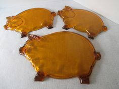 Pig Platter and 2 Snack Plates, Orange, Vintage Tiara Indiana Amber Glass, Buffet Barbecue BBQ, Three Little Pigs, Piggy Plate, Photo Prop by HobbitHouse on Etsy