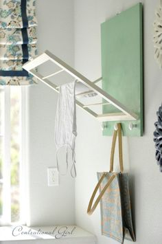 DIY Laundry Room Drying Rack) -- Sure beats me trying to fit everything on top of the dryer that needs to air dry. COOL