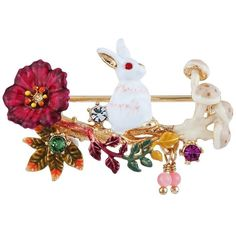 Les Néréides FANTASY GARDEN RABBIT AND FLOWERS AND MUSHROOM BROOCH ($137) ❤ liked on Polyvore featuring jewelry, brooches, jewelry brooches, white pink green gold, les nereides jewellery, flower brooch, flower broach, pink brooch and animal brooch
