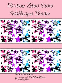 Rainbow Zebra Animal Print Star Wallpaper Border Wall Decals For Teen  Girlu0027s Bedroom Or Any Childrenu0027s