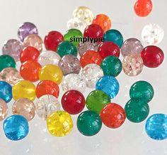 Crackle Mix Czech Round Glass Beads 6mm 25 Crackle Mix Blue
