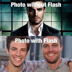 With and without flash. I like with both arrow and flash :) Fandoms Unite, Arrow Flash, Savitar Flash, Arrow Memes, Flash Funny, The Flash Grant Gustin, Dc Tv Shows, Arrow Tv, Team Arrow