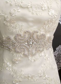 Rhinestone Applique Bridal Sash Crystal Wedding Belt by gebridal