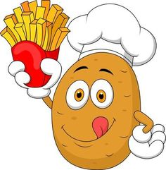 Illustration about Illustration of Potato Chef cartoon Holding Up A French Fries. Illustration of hand, grow, french - 33231340 Eyes Clipart, Food Business Ideas, Food Cart Design, Easy Disney Drawings, Cartoon Chef, Funny Fruit, Animal Sketches, Logo Food, French Fries