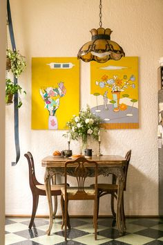 """Set of two vase & flowers paintings: """"Original works by our late friend Harut Manoushagian, a lifelong artist from Chicago who loved to discuss Armenian poetry and literary figures with Jesse. He was elderly but his passing was quite hard for us. ..."""""""