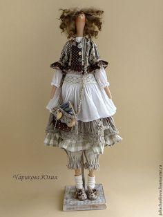 Купить Чудачка стоящая внимания - серый, бохо-стиль, бохо, кукла ручной работы, тильда ☆