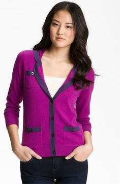 Halogen® Tipped Sweater Blazer (Petite) available at #Nordstrom
