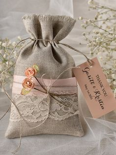 Custom listing peach rustic favor bag, rustic wedding favor bag, lace wedding favor bag, wedding thank you favor bags, gift bag - new Rustic Wedding Favors, Wedding Favor Bags, Lace Wedding, Diy Wedding, Burlap Bags, Lavender Sachets, Burlap Crafts, Linen Bag, Small Gifts