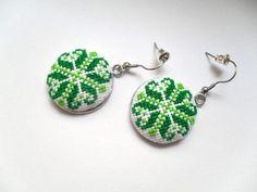 Green earrings,  Boho earrings, Cross stitch embroidery earrings, Traditional jewelry by bijouxfrivolite on Etsy