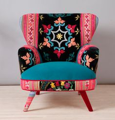 Suzani armchair turquoise sky by namedesignstudio on Etsy Whimsical Painted Furniture, Funky Furniture, Custom Furniture, Funky Chairs, Colorful Chairs, Chaise Chair, Take A Seat, Upholstered Furniture, Home Living