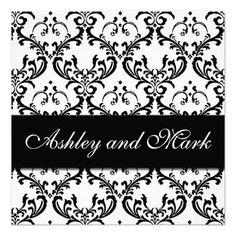 Elegant Black White Damask Wedding Invitation Invitations