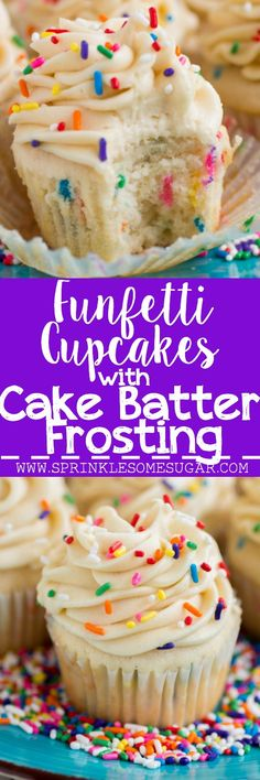 Funfetti Cupcakes with Cake Batter Frosting – Sprinkle Some Sugar My favorite basic fluffy vanilla cupcakes chock full of sprinkles and topped with a creamy cake batter frosting! Yummy Recipes, Baking Recipes, Dessert Recipes, Vanille Cupcakes, Mocha Cupcakes, Strawberry Cupcakes, Velvet Cupcakes, Just Desserts, Delicious Desserts