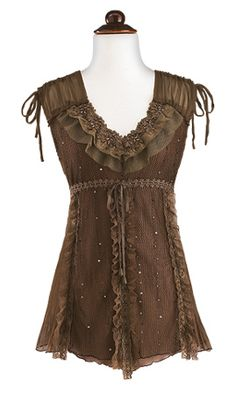 brown sequin top - gaelsong - $45