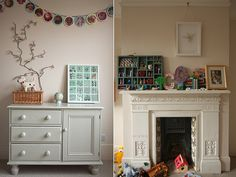 The chest of drawers are painted in 'Bone' by Farrow & Ball, walls in 'Dimity', also Farrow & Ball.
