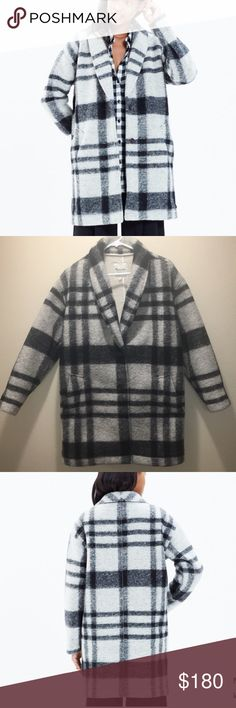 Madewell Florence plaid coat (sold out everywhere) PRODUCT DETAILS (very very gently used)  Cool and slouchy, this bold black-and-white plaid coat is made of a special double-faced Italian fabric that's felted on the outside and has snuggly sherpa on the inside. With dolman sleeves and an easy cocoon shape, it's a strong finish to any outfit.    True to size. Polyacrylic/wool/poly. Dry clean. Import. Item E4745. Madewell Jackets & Coats