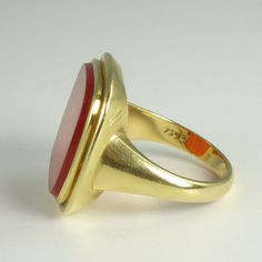 Impressive Mid-Century Carnelian & 18kt Gold Man's Signet Ring from crystalriver on Ruby Lane