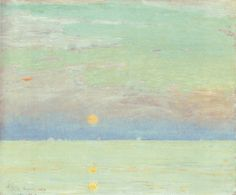 """Moonrise at Sunset, Cape Ann,"" by Childe Hassam, oil on canvas, 18 by 22 inches, 1892"