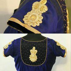 Navy blue and Light gold patch work with soft beads for back. For Queries reach us at 044-42179088 / Whatsapp: 9789903599 Address: 21 Valmiki street, thiruvanmyur #zardosiwork #zari #pearlwork #silksareeblouse #simpleblousework #sareeblouses #boatneckblouse #yuti #YUTIDesignerHouse #blousebyYUTIDesignerhouse #yutiforbrides #yutiforbridesmaids #chennaidesigner #chennaifashionhouse #navyblues #lightgoldwork #patchworkonblouse