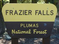 Frazier Falls sign at trailhead next to County Road S501, Plumas County, California