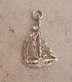 Sailboat Charm Sterling Silver Filigree Vintage 021717HL