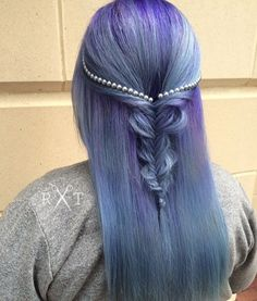 Dusty pastel purple and blue mermaid hair with pearl details by Rachel at Avante on Main Street Salon, Exton PA