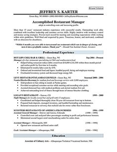 restaurant manager resume template business articles pinterest
