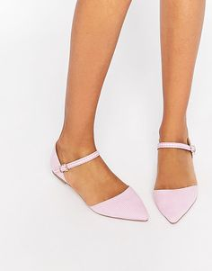 Late night pointed ballet flats by Asos. Ballet pumps by ASOS Collection, Gingham-check upper, Point toe, Pin buckle fastening, Flat sole, Wipe marks with a s...