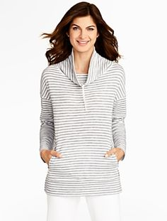 Talbots - Textured-Stripe Cowlneck Top | Tees and Knits | Misses