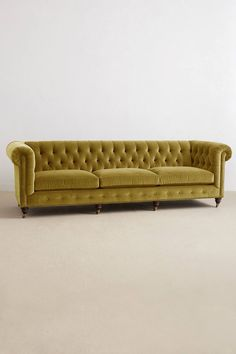 Anthropologie Velvet Lyre Chesterfield Grand Sofa, Hickory // Chartreuse and I LOVE // $2,500