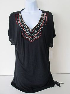 BAY STUDIO Boho Tunic Top Shirt L Peasant Blouse Black Embellished Short Sleeve