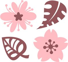 Silhouette Online Store - View Design #8487: flowers and leaves set